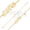 14K sárga arany karkötő, medálok - fehér fénymzas LOVE felirat és cirkónia