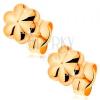 14K sárga arany stekkeres fülbevaló - kis fényes virág vágatokkal