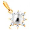 14K sárga arany medál - fénylő nap, gömbölyű fehér gyöngy