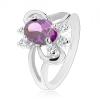 Csillogó gyűrű kettőződött szárakkal, lila csiszolt cirkónia, sima ívek