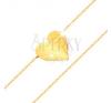 Karkötő 14K sárga aranyból - tükörfényes, lapos szív, csillogó, vékony lánc karkötő