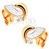 Bedugós fülbevaló 14K aranyból - kétszínű ívek és kerek, átlátszó cirkónia
