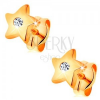 Fülbevaló 14K sárga aranyból - fényes csillag átlátszó középpel