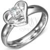 Gyűrű acélból - szívkeret egy tiszta cirkóniával