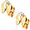 Fülbevaló 14K sárga aranyból - fényes kivágott lepke, fehér színű gyöngy