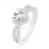 925 ezüst gyűrű, csillogó cirkónia szív, kettős szár