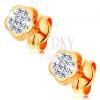 Fülbevaló 14K sárga aranyból - virág átlátszó Swarovski kristályokkal kirakva