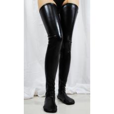 Fekete műbőr zokni