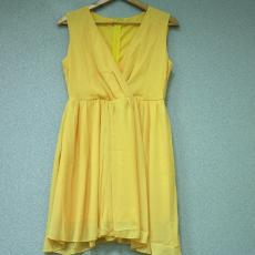 Citromsárga hátul cipzáros mini ruha- Egy méret