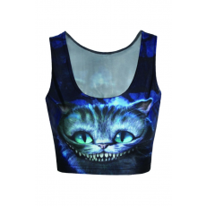 Cheshire Cat mintás Crop Top