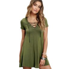 Zöld alkalmi lace-up swing ruha