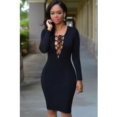 Fekete kivágott fűzős faux ruha