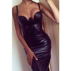 Fekete műbőr ruha