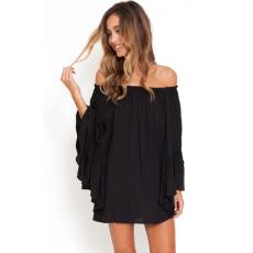 Fekete chiffon mini ruha