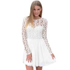 Fehér skater ruha,átlátszó csipkével