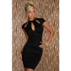 Fekete kulcslyukmintás vintage ruha