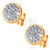 Beszúrós 585 arany fülbevaló - kör beültetett Swarovski kristályokkal