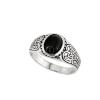 """'Black Moon"""" (""""Fekete Hold"""") onix jellegű, egyköves, antikolt, ezüst unisex gyűrű"""