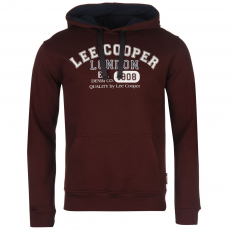 Lee Cooper Over The Head Logo férfi kapucnis pulóver bordó XS