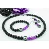 BBH Inspiration Hematit gyűrűs lávakő/lila jáde karkötő-nyaklánc-fülbevaló szett
