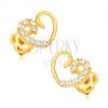 Fülbevaló 14K sárga aranyból - szimmetrikus szívkörvonal, cirkóniás vonal