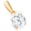 585 arany medál - kerek átlátszó cirkónia, átlós bemetszések, 6 mm