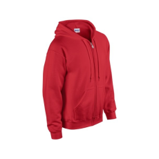 GILDAN cipzáros pulóver kapucnival, piros