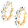 585 arany kerek fülbevaló - átlátszó színű cirkóniás szívecske vonalak