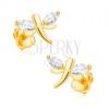Fülbevaló 9K sárga aranyból - csillogó szitakötők, szemecske cirkniák a szárnyain