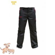 Julius-K9 K9 pamut nadrág, fekete-piros, cipzározható szárral - impregnált, - méret 34 (-től)