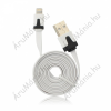 USB Flat kábel - Apple iPhone 5 / 5C / 5S / 6 / 6 Plus / iPAD Mini fehér iOS9 kompatibilis (E212368)
