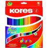 ceruza készlet, kétvégű, háromszögletű, KORES Duo, 24 különböző szín, 24 db/készlet (IK100624)