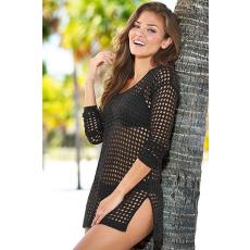 Fekete sexy horgolt strandfelső
