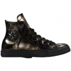 Converse Chuck Taylor All Star Hi Leather női tornacipő, Black/Metallic Gunmetal, 40 (553301C-001-9)