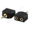 Kőnig-HQ 3.5mm stereo dugó - 2*3.5mm-es stereo aljzat adapter, aranyozott AC-012GOLD