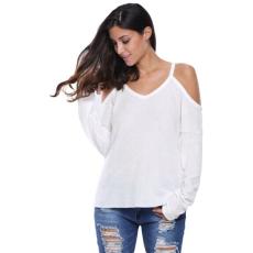 Fehér vállpántos meleg pulóver