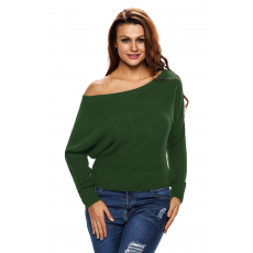Army Green Off Shoulder Lightweight Chunky Sweater