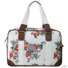Miss Lulu London L1106F - Miss Lulu Oilcloth utazó táska virágos Dot fehér
