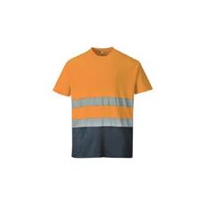 (S173) Pamut jól láthatósági póló narancs-sötétkék