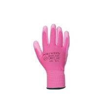 (A120) Nylon PU tenyérmártott kesztyű rózsaszín