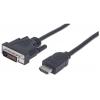 MANHATTAN HDMI - DVI-D kábel, 1 m, MANHATTAN