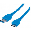 MANHATTAN USB 3.0 kábel, USB  - micro USB , 1 m, MANHATTAN, kék