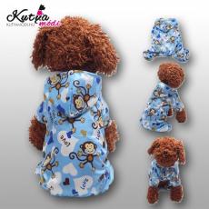 Kutyaruha, kapucnis vízálló esőkabát kék színű, háthossz 32 cm