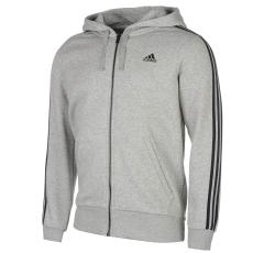 Adidas Essentials 3 Stripe Logo férfi kapucnis pulóver szürke L