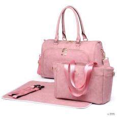Miss Lulu London LT6638-Mummymatternity bevásárló táska válltáska táska Baby Nappy Diaper Changing Wipe Clean rózsaszín