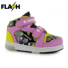 Character gyerek cipő villogó talppal - Minions - Character Light Up Hi Tops Infant Girls