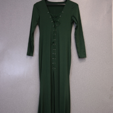 Fűzős sötét zöld hosszú ujjú maxi ruha - Egy méret