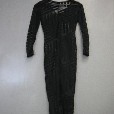 Fekete csíkos áttetsző maxi ruha - Egy méret