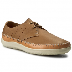 Clarks Félcipő CLARKS - Veho Flow 261238797 Tan Leather