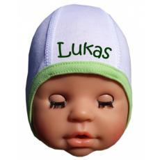 BABY sapka saját névvel - fehér/zöld